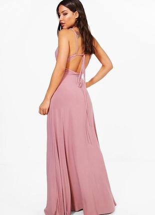Длинное вечернее платье в форме запаха с открытой спиной boohoo