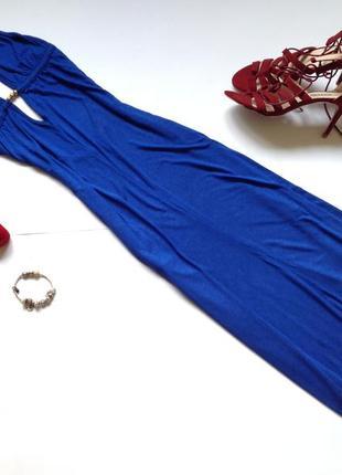 Длинное синее платье макси с открытой спиной river island