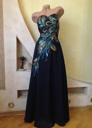 Шикарное длинное  пышное вечернее платье макси в пол grace karine