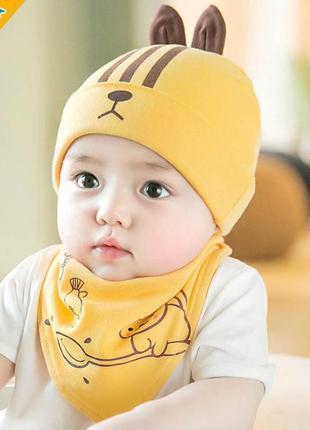 Шапка+хомут rabbit жовтий 3949