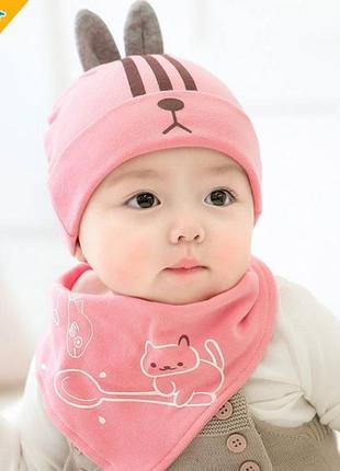 Шапка+хомут rabbit рожевий 3948