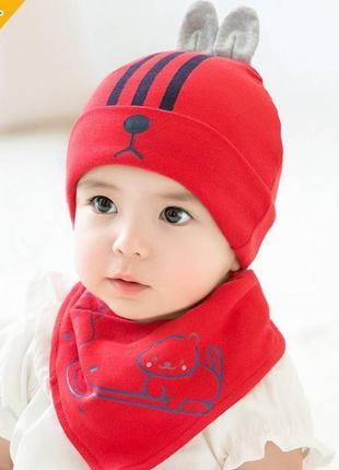 Шапка+хомут rabbit червоний 3947