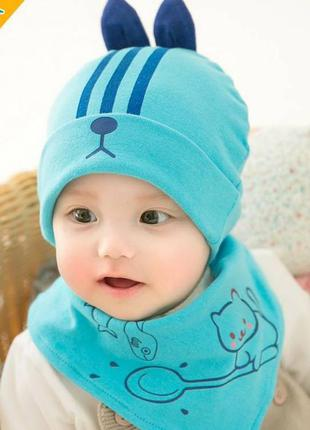 Шапка+хомут rabbit блакитний 3946