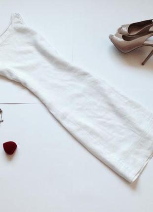 Льняное белое платье туника