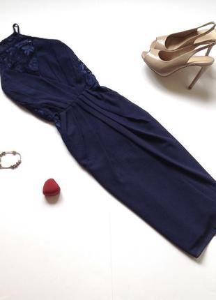 Темно-синие платье миди tfnc