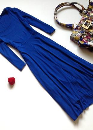 Синее базовое платье миди большого размера