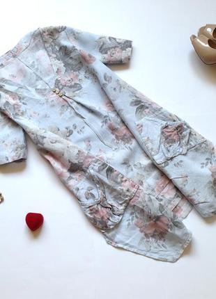 Льняная длинная блуза туника свободного кроя оверсайз