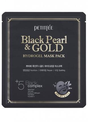 Гидрогелевая маска для лица с черным жемчугом Petitfee Black P...