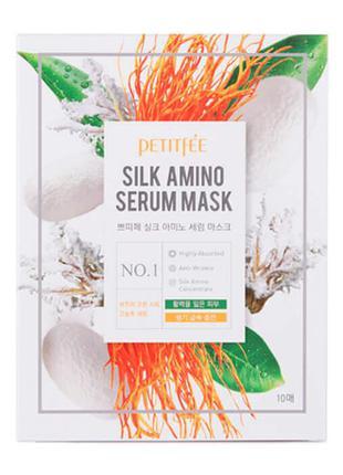 Маска с протеинами шелка Petitfee Silk Amino Serum Mask, 30 мл
