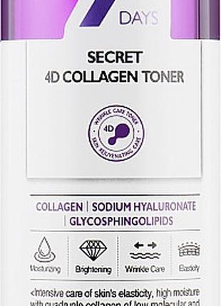 Тонер с коллагеном May Island 7 Days Secret 4d Collagen Toner,...