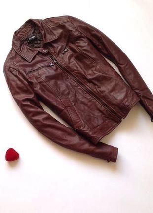Коричневая кожаная демисезонная куртка натуральная кожа