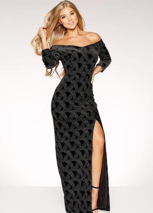 Длинное вечернее бархатное блестящее платье макси с открытыми ...