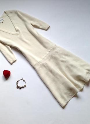 Теплое зимнее белое шерстяное платье ganni