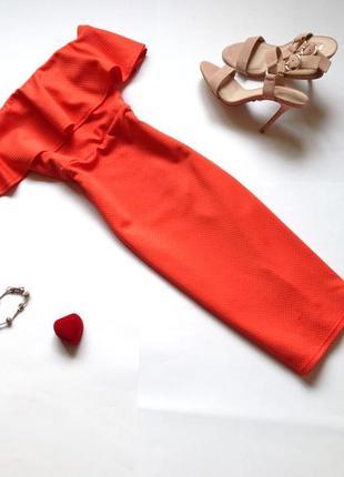 Платье миди карандаш с открытыми плечами new look