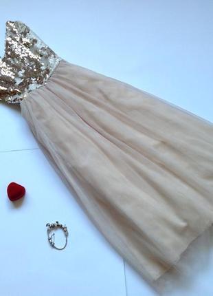 Пышное фатиновое платье миди в пайетки с пышной юбкой little m...