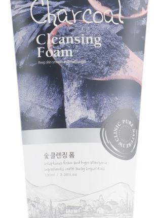 Глубоко очищающая пенка для сужения пор 3W Clinic Charcoal Cle...
