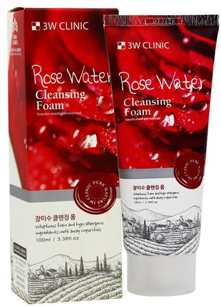 Очищающая пенка для лица с розовой водой 3W Clinic Rose Water ...