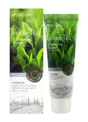 Пенка для умывания с зеленым чаем 3W Clinic Green Tea Foam Cle...