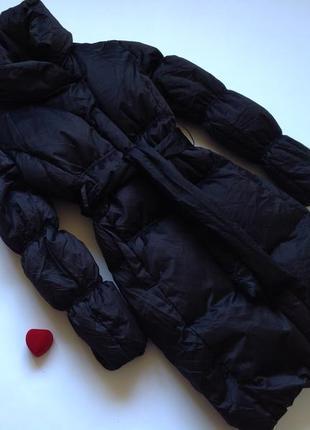 Объемный черный пуховик пуховая куртка плащ inwear