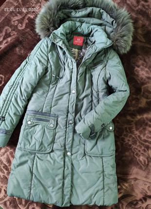 Зимнее пальто, пуховик, осень теплая куртка. мех- песец, разме...