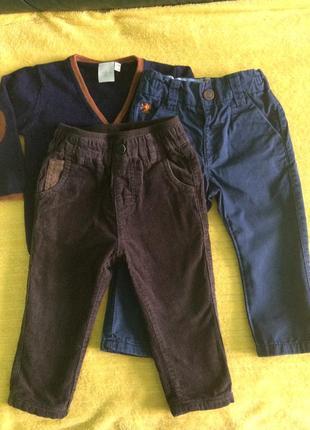 Штаны с подкладкой джинсы кофта 9-12 м.
