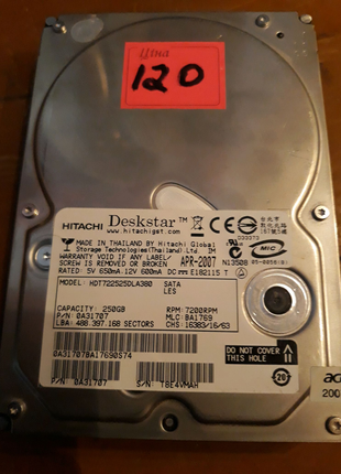 Hdd 250gb sata 3,5