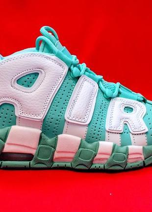 Nike air more uptempo 96 island green/white женские осенние зи...