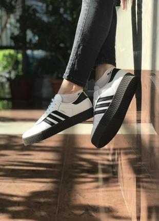 Шикарные женские кеды adidas samba white black