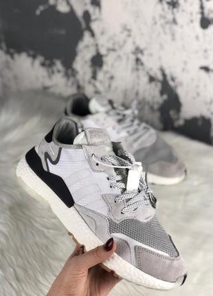 Шикарные женские кроссовки adidas nite jogger crystal white
