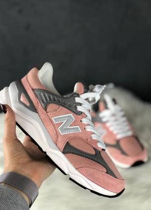 Шикарные женские кроссовки new balance x-90 pink grey white