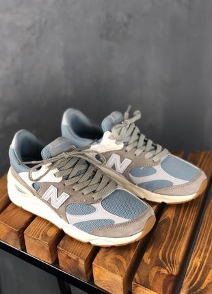 Шикарные женские кроссовки new balance x-90 grey blue white