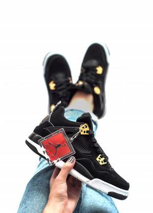 Шикарные женские кроссовки nike air jordan retro 4 black