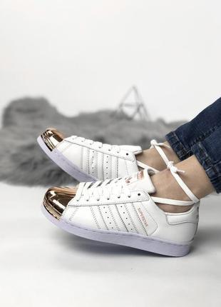 Шикарные женские кеды adidas superstar white gold