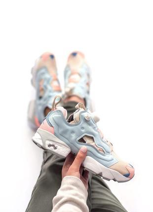 Шикарные женские кроссовки reebok insta pump fury blue pink