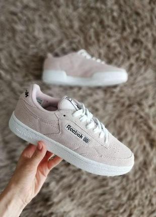 Шикарные женские кроссовки reebok classics club c pink