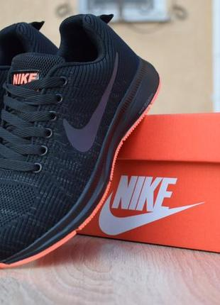 Шикарные женские кроссовки nike zoom pegasus черные с оранжевым