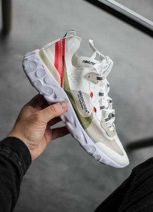 Шикарные мужские кроссовки nike react white red