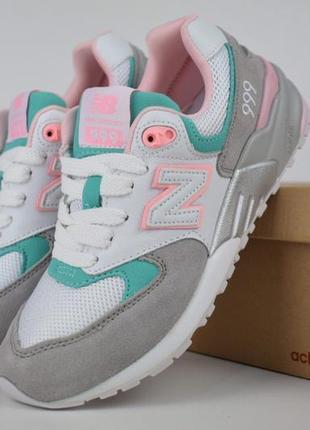 Шикарные женские кроссовки new balance 999 бело-серо-розовые
