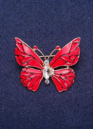 Брошь бабочка красная