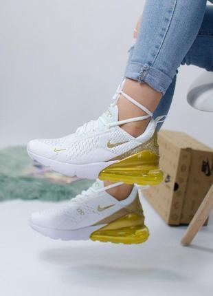 Шикарные женские кроссовки nike air max 270 white gold белые с...