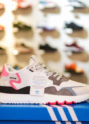 Шикарные женские кроссовки adidas jogger cl серые с розовым