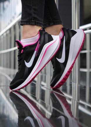 Шикарные женские кроссовки nike zoom v15 черные с розовым
