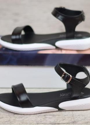 Шикарные женские сандалии, босоножки чёрные натуральная кожа