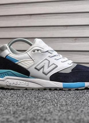Шикарные женские кроссовки new balance 998 белые с голубым