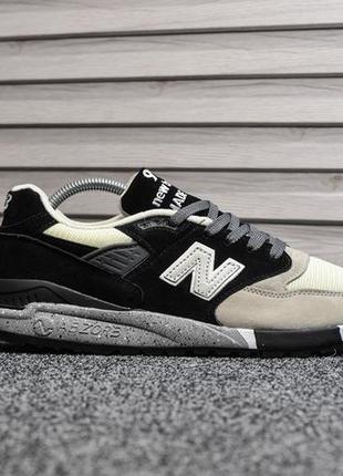 Шикарные мужские кроссовки new balance 998 чёрные с серым