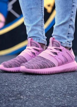 Шикарные женские кроссовки adidas tubular radial розовые