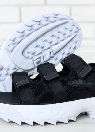 Шикарные женские сандали fila disruptor 2 сандали чёрные