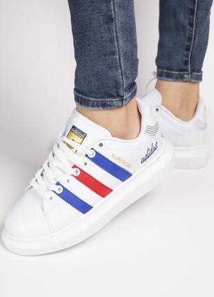 Шикарные женские кроссовки adidas superstar white