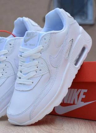 Шикарные женские кроссовки nike air max 90 белые полностью