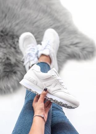 Шикарные женские кроссовки new balance 574 белые